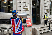 Anti Brexit campaigner Steve Bray protests outside the Cabinet Office in Whitehall as Ministers hold a Brexit Cabinet meeting on 16th August 2019 in London, United Kingdom.