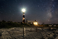 NC00883-00...NORTH CAROLINA - Cape Lookout Lighthouse and Keepers House on the South Core Banks in Cape Lookout National Seashore.