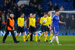 Gary Cahill of Chelsea  looks dejected after Paris Saint-Germain win the math 1-2 to progress to the last 8 of the competition - Mandatory byline: Rogan Thomson/JMP - 09/03/2016 - FOOTBALL - Stamford Bridge Stadium - London, England - Chelsea v Paris Saint-Germain - UEFA Champions League Round of 16: Second Leg.