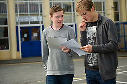 © Licensed to London News Pictures. 25/08/2016. Aberystwyth, Wales, UK. Teenage students at Penglais school Aberystwyth Wales UK collecting their GCSE results. Overall in Wales the GCSE A* to C pass rate has remained static  at 66.6%  for the third consecutive  year  .  Photo credit: Keith Morris/LNP