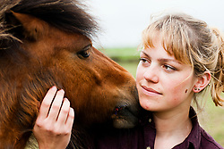 Bella one of the two Shetland ponys who were attacked by dogs on Moss Road, Totley beomg comforted by owner Jennifer Gleadhal,l Bellas stiched mouth can be seen<br /> <br /> 21 May 2013<br /> Image © Paul David Drabble<br /> www.pauldaviddrabble.co.uk