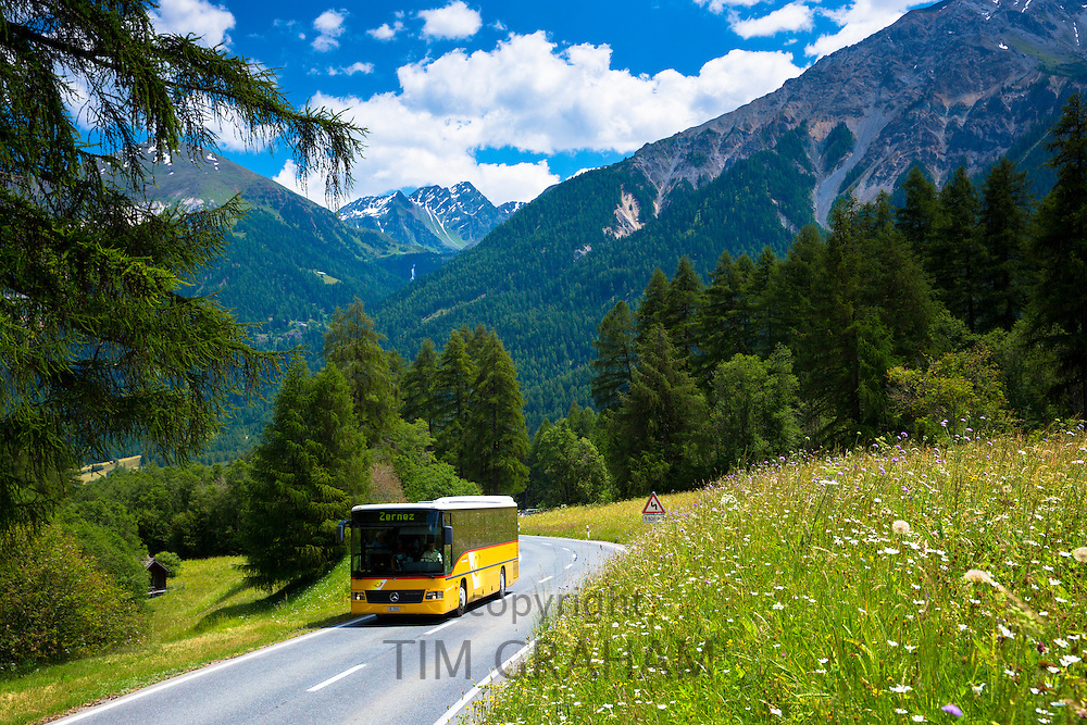 Touring coach on touring holiday in the Swiss Alps, Swiss National Park, Switzerland