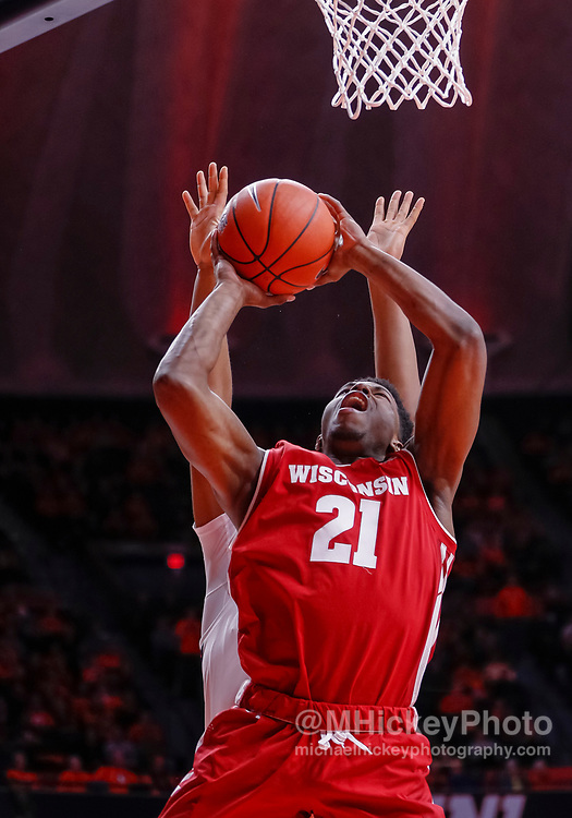CHAMPAIGN, IL - JANUARY 23: Khalil Iverson #21 of the Wisconsin Badgers goes up to shoot the ball during the game against the Illinois Fighting Illini at State Farm Center on January 23, 2019 in Champaign, Illinois. (Photo by Michael Hickey/Getty Images) *** Local Caption *** Khalil Iverson