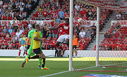 Britt Assombalonga of Nottingham Forest (R) scores his sides fourth goal - Mandatory by-line: Jack Phillips/JMP - 06/08/2016 - FOOTBALL - The City Ground - Nottingham, England - Nottingham Forest v Burton Albion - EFL Sky Bet Championship