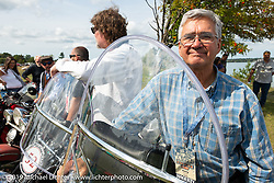 Kerry Patchett lined up for the panorama portrait in Aune Osborne Park in Sault Sainte Marie, the site of the official start of the Cross Country Chase motorcycle endurance run from Sault Sainte Marie, MI to Key West, FL. (for vintage bikes from 1930-1948). Thursday, September 5, 2019. Photography ©2019 Michael Lichter.