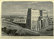 Temple of Edfu [The Temple of Horus at Edfu]. Wood engraving from 'Picturesque Palestine, Sinai and Egypt' by Wilson, Charles William, Sir, 1836-1905; Lane-Poole, Stanley, 1854-1931 Volume 4. Published in 1884 by J. S. Virtue and Co, London