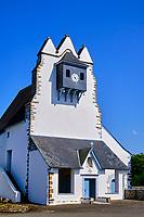 France, Pyrénées-Atlantiques (64), Pays Basque, Idaux, clocher trinitaire ou clocher souletin, église paroissiale de Saint-Pierre // France, Pyrénées-Atlantiques (64), Basque Country, Idaux, Trinitarian bell tower or Souletin bell tower, parish church of Saint-Pierre