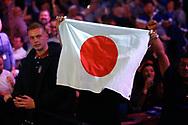 WINNER Seigo Asada's fans hold aloft a Japanese flag, during the Darts World Championship 2018 at Alexandra Palace, London, United Kingdom on 18 December 2018.