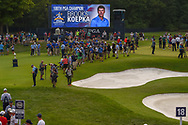 The press is gathered on 18 for photos and interviews of Brooks Koepka (USA) for winning the 100th PGA Championship at Bellerive Country Club, St. Louis, Missouri. 8/12/2018.<br /> Picture: Golffile | Ken Murray<br /> <br /> All photo usage must carry mandatory copyright credit (© Golffile | Ken Murray)