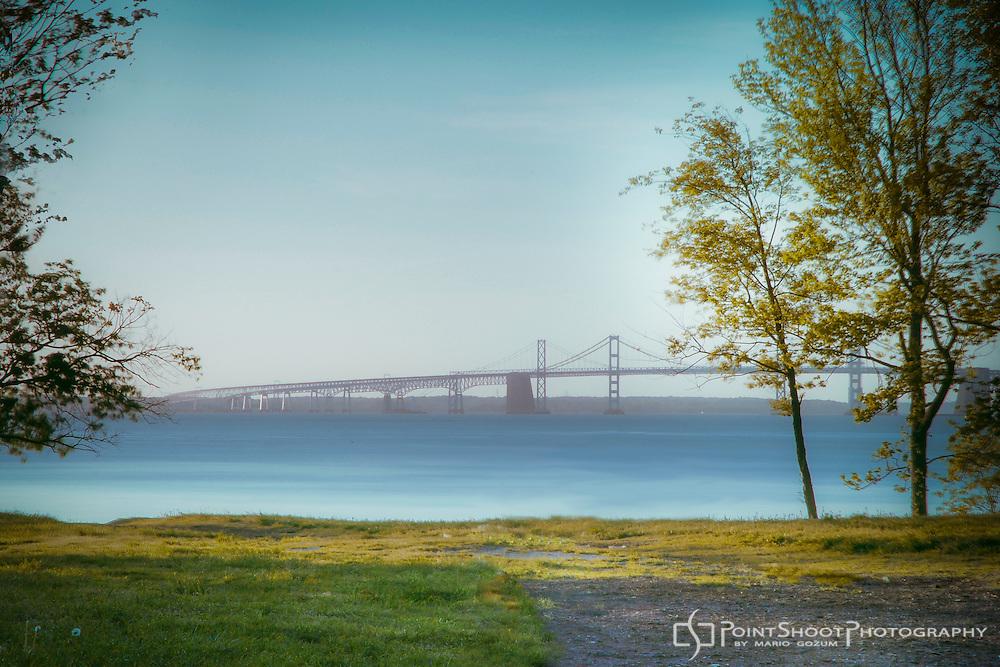 View of the Chesapeake Bay Bridge from a hill leading to Matapeake Beach. Photo by Mario Gozum, Stevensville, MD Photographer.