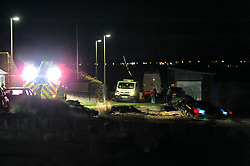 Delivery driver's car went off the road onto a beach in Limekilns, Fife at around 8:00pm, Sunday.<br /> A full responce from SFRS, Police, Ambulance and the South Queensferry Coastguard. The driver didn't seem to be hurt.<br /> <br /> (c) David Wardle | Edinburgh Elite media