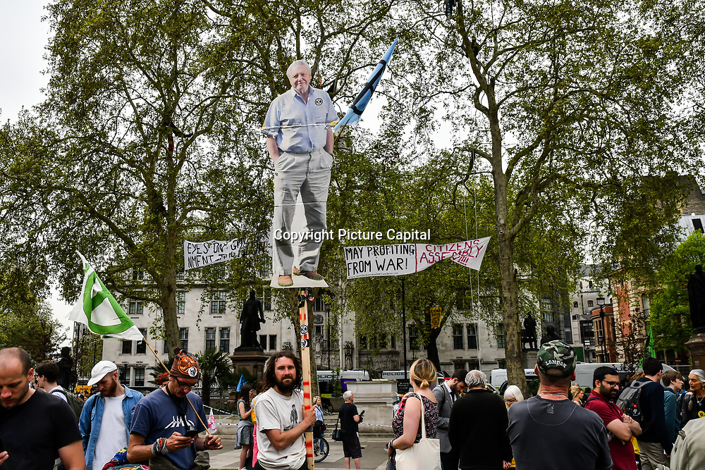 Hundreds climate change protestors continue on Day 9 - Extinction Rebellion, at Parliament Square, on 23 April 2019, London, UK