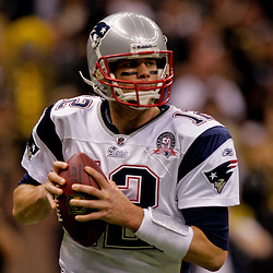 2009 November 30:  New England Patriots quarterback Tom Brady (12) looks to pass during a 38-17 win by the New Orleans Saints over the New England Patriots at the Louisiana Superdome in New Orleans, Louisiana.
