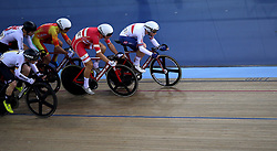 Matthew Walls of Great Britain during the Men's Omnium Scratch Race 1/4 during day three of the Tissot UCI Track Cycling World Cup at Lee Valley VeloPark, London.