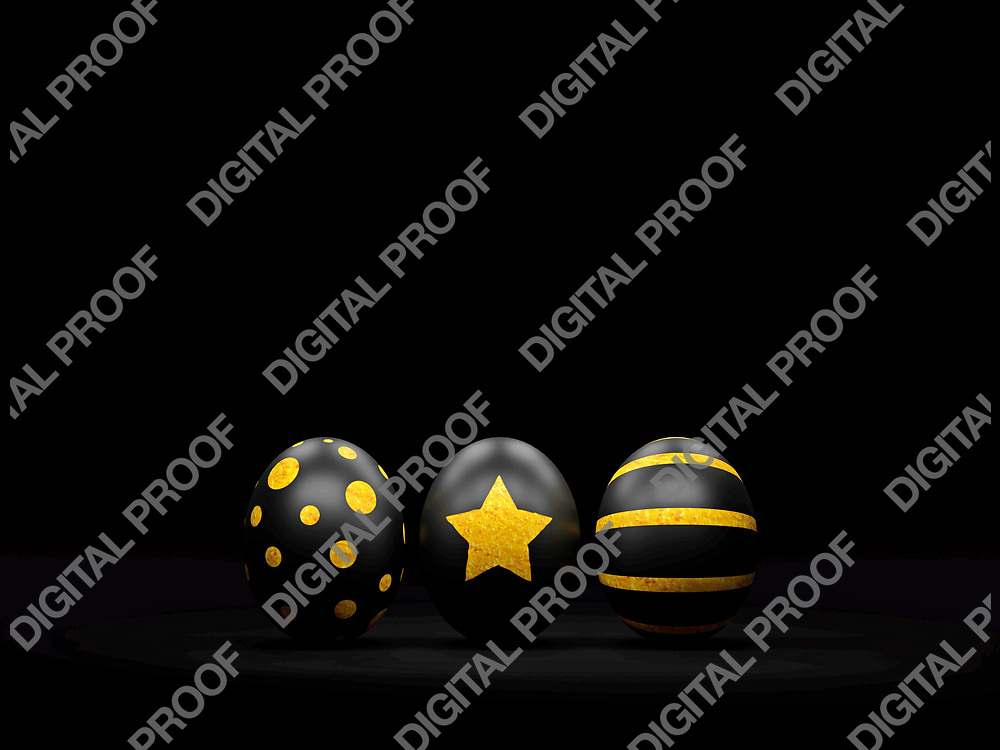 Black Easter Eggs with Gold spots in a Minimalism Black Background - 3D Rendering Concept