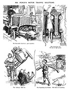 "Mr Punch's Motor Traffic Solutions. The Run-under Cycle-car; goes ANYWHERE. The Concertina Car. For use in tight places. The ""Lift-up"" Side Car. The Expanding Cow-Pusher. Will shove off anything."