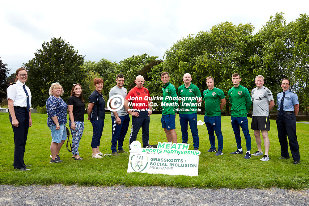 04-08-21, Garda youth diversion Soccer Initiative project in association with Meath Sports Partnership<br /> at Our Lady of Mercy school, Kells.<br /> Organisers of the event, L-R, Superintendent Thelma Watters, Catherine Sherlock, Amanda Veale, Mary Murphy (Meath Sports Partnership), Mark Molloy, Kevin Dowling, Conor Woods (FAI), Trevor Scanlon (FAI), Paul Smyth (FAI), Conor Woods (FAI), Garda Padraig Keegan, Sergeant Elaine Long.<br /> Photo: David Mullen / www.quirke.ie ©John Quirke Photography, Proudstown Road Navan. Co. Meath. 046-9079044 / 087-2579454.<br /> ISO: 320; Shutter: 1/250; Aperture: 6.3;