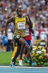 17.08.2013, Luzhniki Stadion, Moskau, RUS, IAAF Leichtathletik Weltmeisterschaft, im Bild Usain Bold beim Finale Sprint auf 200 m // Usian Bold at the 200m final during the IAAF world athletics championships at Luzhniki stadium in Moscow, Russia on 2013/08/17. EXPA Pictures © 2013, PhotoCredit: EXPA/ Newspix/ Kamil Jozwiak<br /> <br /> ***** ATTENTION - for AUT, SLO, CRO, SRB, BIH, TUR, SUI and SWE only *****