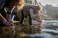 Some women wash in the river intestines of a dead pig in traditional way pig slaughtering.  Doneztebe (Basque Country). December 08. 2016. The slaughter traditionally takes place in the autum and early winter and the work often is done in the open. (Gari Garaialde / Bostok Photo)