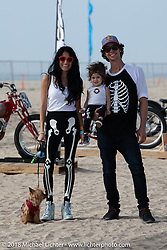 Daniela and stunter extraordinaire Aaron Colton with their daughter Luna and dog Sadie at the RSD Moto Beach Classic custom bike show. Huntington Beach, CA, USA. Sunday October 28, 2018. Photography ©2018 Michael Lichter.