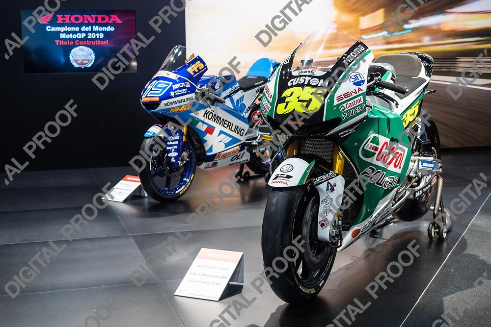 RHO Fieramilano, Milan Italy - November 07, 2019 EICMA Expo. Honda motorcycles RC213V and NSF250RW from MotoGP 2019 in exhibit at EICMA 2019