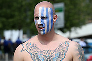 a Sheffield Wednesday fan wearing face paint outside Wembley Stadium before k/o. Skybet football league Championship play off final match, Hull city v Sheffield Wednesday at Wembley Stadium in London on Saturday 28th May 2016.<br /> pic by John Patrick Fletcher, Andrew Orchard sports photography.