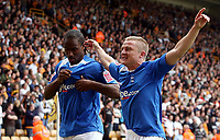 Photo: Paul Thomas.<br /> Wolverhampton Wanderers v Birmingham City. Coca Cola Championship. 22/04/2007.<br /> <br /> Goal scorer Cameron Jerome (L) and Gary McShefferey celebrate his late winner.