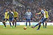 Brighton & Hove Albion centre forward Tomer Hemed (10) scores a goal 3-0 penalty spot during the EFL Sky Bet Championship match between Brighton and Hove Albion and Burton Albion at the American Express Community Stadium, Brighton and Hove, England on 11 February 2017.