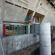 Firminy, France, Alvernia Rodano Alpi, 2016: Maison de la Culture (1961-1965), front west at Boulevard Périphérique du Stade - Le Corbusier arch - Photographs by Alejandro Sala