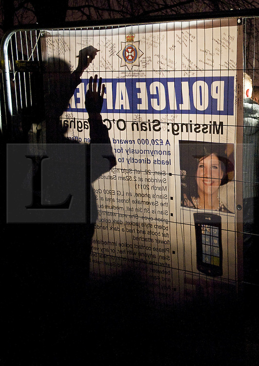 © under license to London News Pictures.  26/03/2011. Hundreds of People queue to sign a police appeal poster in memory of Sian O'Callaghan before taking part in a mass memorial by lighting chineese lanters . Photo credit should read: LNP
