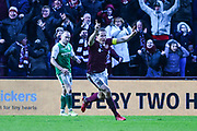 6 Christophe Berra scores winning goal during the William Hill Scottish Cup 4th round match between Heart of Midlothian and Hibernian at Tynecastle Stadium, Gorgie, Scotland on 21 January 2018. Photo by Kevin Murray.