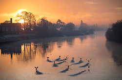 © Licensed to London News Pictures. 28/12/2016. London, UK. Sunrise on the River Thames by Hampton Court Palace at first light. A very cold start to the day in some parts of the UK with temperatures well below freezing at dawn. Photo credit: Peter Macdiarmid/LNP