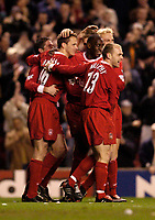 Photo. Jed Wee, Digitalsport<br /> Liverpool v Portsmouth, FA Barclaycard Premiership, Anfield, Liverpool. 17/03/2004.<br /> Liverpool celebrate Dietmar Hamann's opening goal.