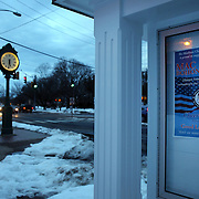A poster supporting Olympic Freestyle Aerial Skier Mac Bohonnon in the main street of Madison, Connecticut, USA. 20th February 2014. Photo Tim Clayton
