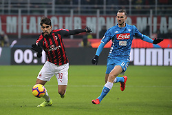 January 26, 2019 - Milan, Milan, Italy - Lucas Paqueta' #39 of AC Milan competes for the ball with Fabian Ruiz #8 of SSC Napoli during the serie A match between AC Milan and SSC Napoli at Stadio Giuseppe Meazza on January 26, 2018 in Milan, Italy. (Credit Image: © Giuseppe Cottini/NurPhoto via ZUMA Press)