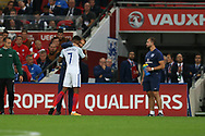 England manager Gareth Southgate congratulates Marcus Rashford of England as he comes off.  FIFA World cup qualifying match, European group F, England v Slovakia at Wembley Stadium in London on Monday 4th September 2017.<br /> pic by Andrew Orchard, Andrew Orchard sports photography.