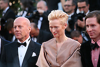 Actor Bruce Willis, Actress Tilda Swinton and Director Wes Anderson  at the gala screening of the film Moonrise Kingdom at the 65th Cannes Film Festival. Wednesday 16th May 2012, the red carpet at Palais Des Festivals in Cannes, France.