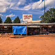 Pedro Juan Caballero - Ponta Porã, border Paraguay - Brazil. This dusty street in the heart of the two cities, is the international line dividing the two cities and the two countries
