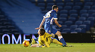 Brighton winger, Jamie Murphy (15) effort saved by Ipswich Town goalkeeper Dean Gerken (1) during the Sky Bet Championship match between Brighton and Hove Albion and Ipswich Town at the American Express Community Stadium, Brighton and Hove, England on 29 December 2015.