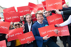 © Licensed to London News Pictures 01/05/2021. Sidcup, UK. London mayoral candidate and Reclaim Party leader Laurence Fox visiting Sidcup in South East London today with Reform UK Party leader Richard Tice. Photo credit:Grant Falvey/LNP
