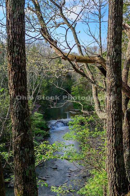 Photo looking down at Horseshoe Falls in Caesar Creek State Park, near Waynesville, Ohio, in Warren County.