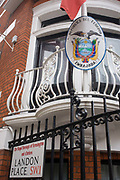 The national flag of Ecuador hangs outside the Ecuadorian embassy in Hans Crescent (at the junction of the narrow Landon Place), London SW1. These premises are the location of Julian Assange who has claimed immunity from extradition inside, remaining there since June 2012. A hidden microphone was also recently reported found inside the building where the WikiLeaks founder is holed up, according to the country's foreign minister. Ricardo Patiño said the device had been discovered a fortnight ago inside the office of the Ecuadorean ambassador, Ana Alban.