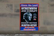 A poster at an anti-Brexit demonstration calls Boris Johnson, the British Prime Minister, untrustworthy and corrupt on 24th June, 2021 in Leeds, United Kingdom. The British government has been under mounting pressure and criticism for their response to the pandemic, with many saying the Prime Minister has repeatedly acted irresponsibly and endangered lives.