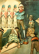 Conquering Africa From the book Mr. Munchausen; being a true account of some of the recent adventures beyond the Styx of the late Hieronymus Carl Friedrich, sometime Baron Munchausen of Bodenwerder, as originally reported for the Sunday edition of the Gehenna Gazette by its special interviewer the late Mr. Ananias formerly of Jerusalem and now first transcribed from the columns of that journal. by Bangs, John Kendrick, (1862-1922) Published in Boston by Noyes, Platt & company 1901 with artwork by Peter Newell