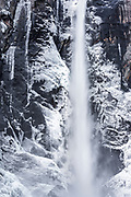 Detail of Bridalveil Fall in winter, Yosemite Valley, Yosemite National Park, California USA