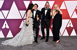 Elizabeth Chai Vasarhelyi, Jimmy Chin, Evan Hayes and Shannon Dill with the award for Best Documentary in the press room at the 91st Academy Awards held at the Dolby Theatre in Hollywood, Los Angeles, USA.