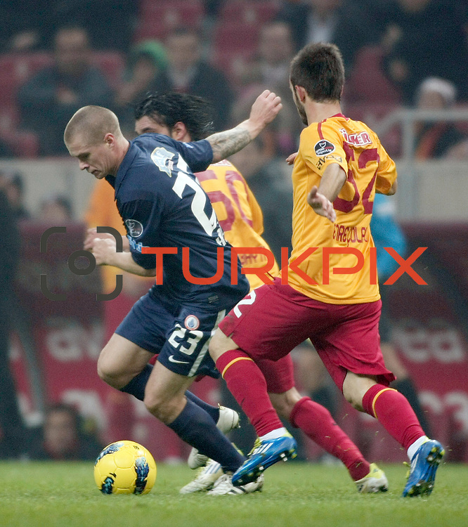IBBSpor's Samuel Holmen (L) during their Turkish Super League soccer match Galatasaray between IBBSpor at the TT Arena at Seyrantepe in Istanbul Turkey on Tuesday, 03 January 2012. Photo by TURKPIX