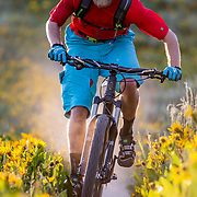Andrew Whiteford rides through the wildflowers on Munger Mountain at sunset near Wilson, Wyoming.