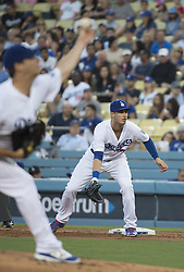 August 11, 2017 - Los Angeles, California, U.S - 11 Aug 2017. The Los Angeles Dodgers play the San Diego Padres in the first  game of a three-game series at Dodger Stadium. Pictured is Dodger Cody Bellinger. (Credit Image: © Prensa Internacional via ZUMA Wire)