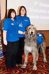 Support Dog trainers Shirley Lumley and Helen Wright with Tich the fundraising Iris Wolf Hound who recieved a special award at the Support Dogs 8th Annual Graduation Awards Ceremony held at Tankersley Manor on Sunday<br /> <br /> 24 November 2013<br /> Image © Paul David Drabble<br /> www.pauldaviddrabble.co.uk